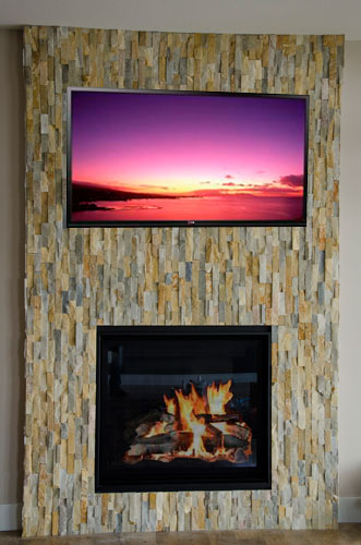 Custom Ledge Stone Fireplace AC Tile